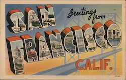 Greetings from San Francisco Calif. Postcard