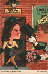 Caricature of Judy Garland and Mickey Rooney Postcard