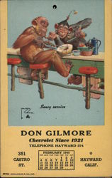 Don Gilmore Monkey Calendar February 1940 Postcard