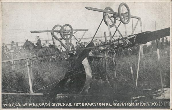 Wreck of McCurdy Biplane - International Aviation Meet 1911 Chicago Illinois
