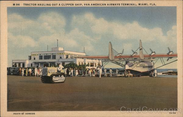 Tractor Hauling Out a Clipper Ship, Pan American Airways Terminal Miami Florida