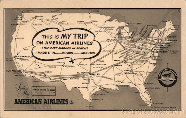 This is MY TRIP on American Airlines System Map Airline Advertising