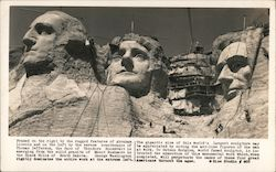 Photo of the construction of Roosevelt's head at Mt Rushmore