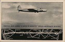 "United Air Lines ""3-Mile-A-Minute"" Multi-Motored Boeing Postcard"