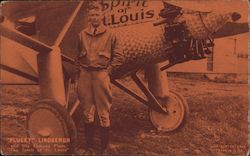 """Plucky"" Lindbergh and His Famous Plane ""The Spirit of St. Louis"""