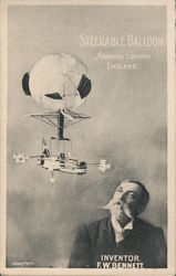Steerable Balloon - Inventor F.W. Bennett Postcard