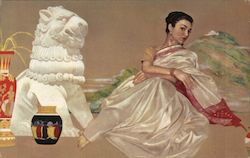A Woman and Vases near a Lion Statue Postcard