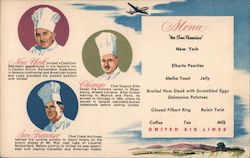 United Airlines Menu Postcard