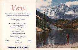 United Air Lines - Menu Postcard