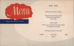 Menu - United Air Lines - New York Postcard