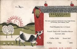 Breakfast Menu - United Air Lines Postcard