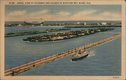 Aerial View of Causeway and Islands of Biscayne Bay Postcard