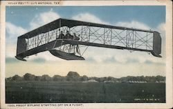 Fool Proof Biplane Starting off on a Flight - Kelly Field Postcard
