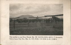 First aircraft to cross Sierra Nevada Mts. De Havilands Postcard