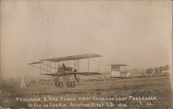 Paulhan & Mrs Ferris - First American Lady Passenger to Fly in the Air - Aviation Meet LA 1910
