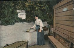 A Lady Waits with a Dipper of Water - Hot Springs, Sulphur Water