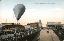 Balloon Ascension, Long Beach, Cal. Postcard