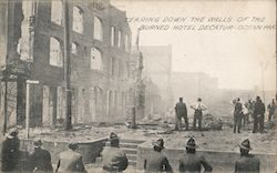 Tearing Down the Walls of the Burned Hotel Decatoru Postcard