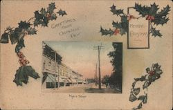 Myers Street - Merry Christmas Greetings from Oroville Postcard
