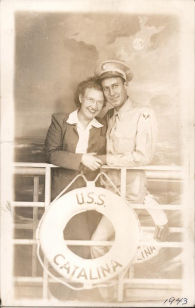 U.S.S. Catalina studio portrait of couple 1943 Soldier Santa Catalina Island California