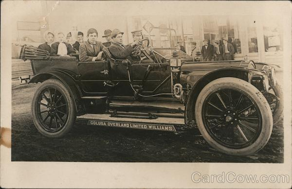 Overland Limited Williams car loaded with passengers Colusa California