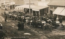Early Touring Cars: A Busy Day in Calistoga, Cal. Postcard