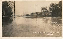 4th St. During storm Jan 25, 1914 Flood Postcard