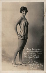 Mary Wiggins World's Champion High and Fancy Diver Age 18, Weight 118 Height 5 ft. 2 in. Postcard