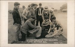 Resuscitation of the Drowned, Class in First Aid Postcard