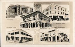 El Centro Scenes -Library, Castle Ray Hotel, Princess Hotel, Shafer Apartments Postcard