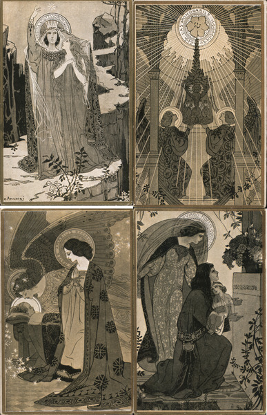 Set of 4: Virgin Mary Art Deco Ezio Anichini Artist Signed