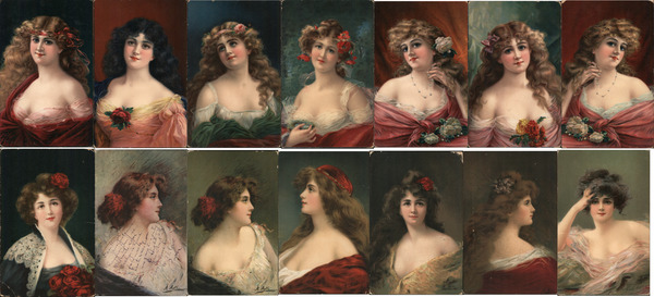 Lot of 14: Beautiful Women Portraits Artist Signed