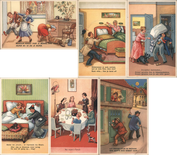 Set of 6: Women Beating Men, Married Life Comic, Funny