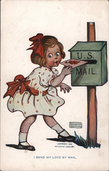 I send my love by mail. Little girl mailing valentine at postal box.