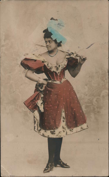 Black woman entertainer with umbrella, red dress, blue hat