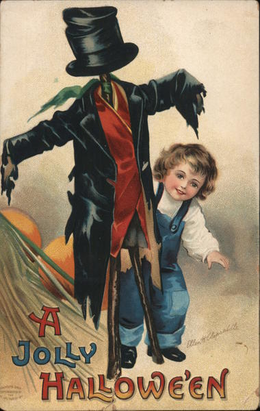 A Jolly Halloween. Boy and his scarecrow Ellen Clapsaddle