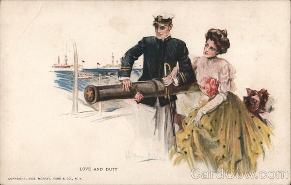 Love And Duty  Navy Man, Woman, with Cannon Artist Signed