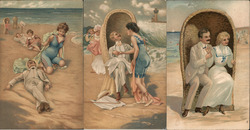 Lot of 3: Victorian Couple at Beach Postcard