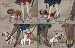 "Set of 4: Women's Legs with Dogs ""Breezy"" Series Postcard"
