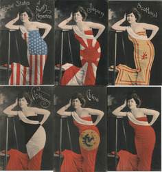 Set of 6: Women Dressed in Flags Postcard