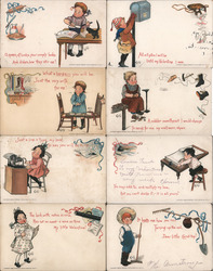 Lot of 8: Children Doing Chores Postcard