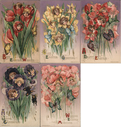 Lot of 5: Schmucker Fantasy Heads in Flowers Series Postcard