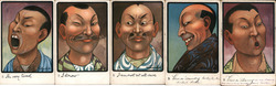 Set of 5: Chinese Men Postcard