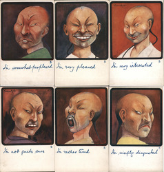 Set of 6: Chinese Men Series 1010 Postcard