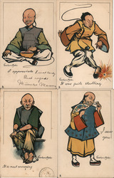 Set of 4: Chinese Men Postcard