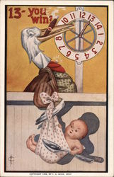 13-You Win? Stork with numbered spinner wheel and prize is baby No. 998 Frederick L. Cavally Postcard