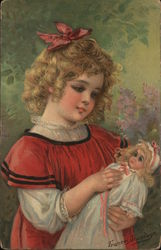 Girl with red bow hold blonde haired doll Postcard