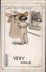Weather Forecast - Very cold. Small girl with hair bow getting dressed in nightgown Postcard
