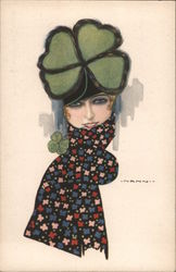 Girl's face with four leaf clover as hat - signed Nanni No. 2573 Postcard