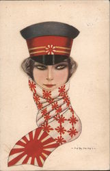 Woman in Japanese hat and scarf with red sun symbol signed Nanni Postcard